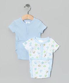 Blue Dino Wrap Bodysuit Set   zulily