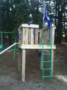 Flag & slide (could only raise a few feet, with a ramp for access)