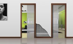 INVERSO Double Door Frame with two opposite opening and central pocket box. It allows installing two sliding doors in two different rooms with the same wall cavity.