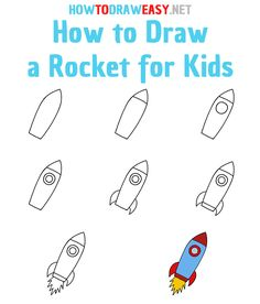 Space Drawings, Art Drawings For Kids, Drawing For Kids, Learning To Draw For Kids, Elementary Drawing, Toddler Drawing, Rockets For Kids, Drawing Tutorials For Kids, Easy Doodle Art