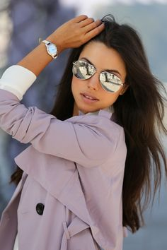 Nasty Gal lavender trench coat   mirrored sunglasses