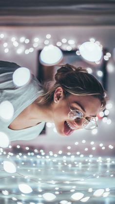 Portrait of fairy tale lights. Creative low budget photography idea with lots of bokeh. The most beautiful picture for home decor kit