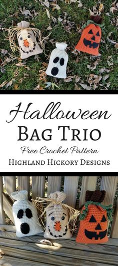 """Crochet this Halloween Bag Trio for holiday decorations or for candy/gift bags for the kids! The free patterns are easy and work up quickly. 9""""H x 5 3/8""""W"""