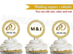Wedding Cupcake Topper Couples Cake Pop Picks Gold Glitter Customizable File   eBay