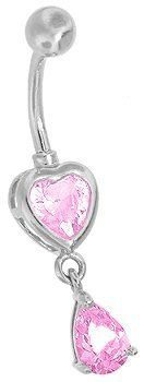 "14G 3/8"" - Pink CZ Heart & Droplet Dangle 14K White Gold Belly Button Ring (CUSTOM MADE) FreshTrends. $300.22. Save 13% Off!"