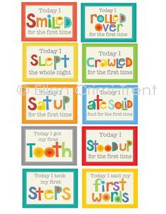 Nursery Decor Baby Milestone cards by EllenCrimiTrent on Etsy