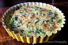 Spaghetti Squash Crust Quiche with proscuitto, asparagus and smoked gouda - The Barn