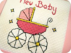 The Baby Girl Card  Completed Present Cross Stitch by BrightBride, $9.00