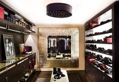 The cool Essentials To Luxury Closets With Fancy Mirror And Ceiling Light