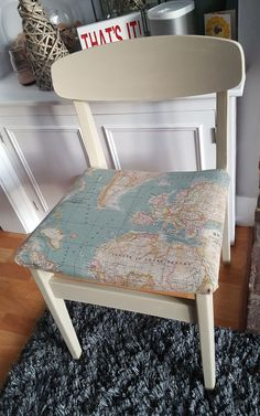 Annie sloan world map fabric reupholstered by love restored atlas chair restored using annie sloan old ochre and reupholstered with annie sloan map fabric gumiabroncs Image collections