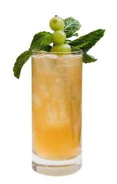 Pommes et Raisins (Apples & Grapes) A new summer staple that puts a unique twist on the classic mojito.  Ingredients: 2 parts Courvoisier VS 75 parts fresh squeezed lime juice 5 parts mint syrup  Directions: Shake and strained into a pilsner glass. Top with hard cider beer. Garnish with frozen white grapes.