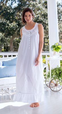 Moonlight Sonata long cotton nightgown by Eileen West is inspired by romance and beautifully detailed with lace, pintucking and shell buttons.
