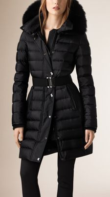 Down-Filled Sateen Puffer with Fur Trimmed Hood