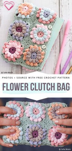 Crochet Accessories For Crafters Free Patterns Flower Clutch Bag Free Crochet P. Crochet Accessories For Crafters Free Patterns Flower Clutch Bag Free Crochet Pattern Gorgeous clu Clutch Bag Pattern, Crochet Clutch Bags, Free Crochet Bag, Bag Pattern Free, Crochet Gratis, Crochet Purses, Crochet Basics, Crochet Cake, Sunburst Granny Square