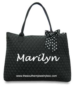 PERSONALIZED QUILTED BAGS, TOTES AND LUGGAGE SETS - Black and White - CLICK TO SEE SELECTION