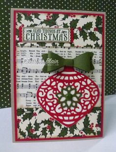 Christine Blain: JAI # 289 Stampin' Up! Delicate Ornaments Christmas Card - Antique Tags - Home for Christmas DSP - Bow Builder Punch