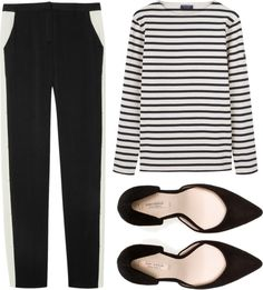 A fashion look from April 2013 featuring striped t shirt, slim fit pants and black shoes. Browse and shop related looks. Work Fashion, Fashion Outfits, Womens Fashion, Fashion Ideas, Work Attire, Polyvore Outfits, Passion For Fashion, Cool Outfits, Summer Outfits