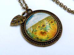 Edle Sommer Halskette mit Feld mit Sonnenblumen von Schmucktruhe