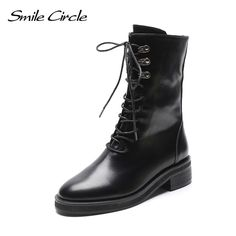 d7cf74f3149e Smile Circle 2019 spring boots women Fashion Chunky heel High Boots Round  toe Lace-Up