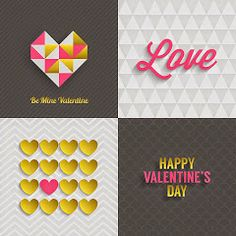 Set of Valentine's Day Greeting Cards