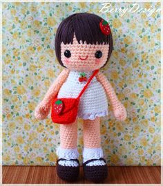 """Crochet doll. Like the """"stay put"""" hair on this."""