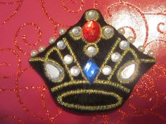 Vintage Black Crown Brooch With Pearls and by EyecatchersBoutique