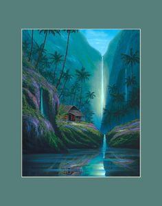 Tropical waterfall hd desktop wallpaper widescreen high hd enchanted tropical waterfall matted print voltagebd Image collections