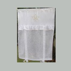 Fleur de Lis French Linen Window Curtain with Ivory Machine Embroidery, White Linen Roller Shade, Sheer Tie Up Door Panel, Shabby