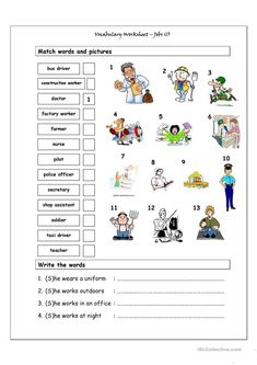 Vocabulary Matching Worksheet - Jobs (1) worksheet - Free ESL printable worksheets made by teachers