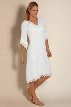 Monte Carlo Dress - Three Quarter Sleeve Dress, Lightweight Cotton Dress For Summer | Soft Surroundings