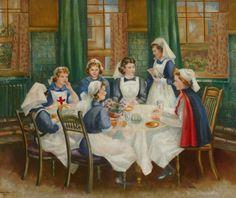 Nurses sitting round a table