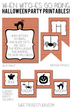 Witches Riding Halloween Party Printables at Sweet Rose Studio