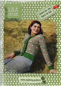 Vintage 1940sLady's LadiesKnitting Pattern ChartedFair Isle Cardigan Jacket  | eBay