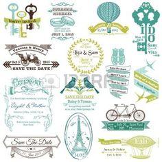 huwelijksuitnodiging%3A+Wedding+Vintage+Uitnodiging+Collection+-+voor+ontwerp%2C+plakboek+Stock+Illustratie