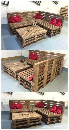 Pallet Furniture Designs, Pallet Garden Furniture, Wooden Pallet Projects, Diy Outdoor Furniture, Pallet Crafts, Recycled Furniture, Wooden Pallets, Furniture Projects, Garden Pallet