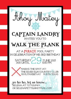 Pirate Party Invitations Pirate Birthday Party Invitation Pirate - Birthday party invitation reply wording
