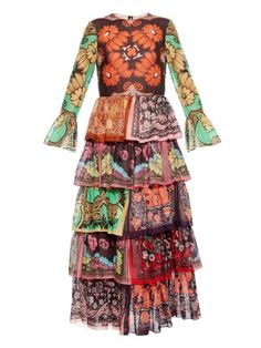 Patchwork tiered gown | Valentino | MATCHESFASHION.COM US