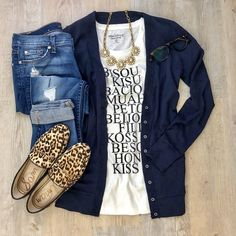 Crew Factory graphic kiss tee J.Crew mixed tape cardigan Sam Edelman leopard - Loafers Outfit - Ideas of Loafers Outfit - J.Crew Factory graphic kiss tee J.Crew mixed tape cardigan Sam Edelman leopard loafers denim J. Shopping Outfits, New Outfits, Casual Outfits, Cute Outfits, Fashion Outfits, Womens Fashion, J Crew Outfits Summer, Casual Summer Outfits For Work, Fashion Tips