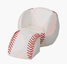 Game room baseball chair i wouldnt use a baseball but i love this!