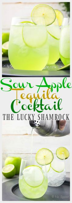 The Lucky Shamrock - Sour Apple & Tequila Cocktail for St. Patrick's Day. #saintpatricksdayfeast2017