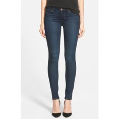 Paige Denim 'Transcend - Verdugo' Ultra Skinny Jeans ($179) ❤ liked on Polyvore featuring jeans, clark, stretch jeans, mid-rise jeans, paige denim, mid rise stretch jeans and zipper skinny jeans