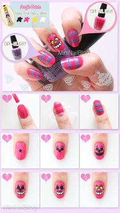 Manicure Disney Every Day Page 2 Nail Art Tutorials - ArtToNail nail stamping disney - Nail Stamping Diy Disney Nails, Disney Nail Designs, Nail Art Designs, Minion Nails, Cat Nails, Fancy Nails, Trendy Nails, Alice In Wonderland Nails, Cat Nail Art