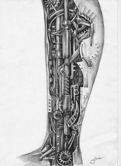 Fabulous Steampunk Ripped Skin Tattoos On Arm - Tattoo Ideas Fist Tattoo, Gear Tattoo, Leg Tattoo Men, Leg Tattoos, Body Art Tattoos, Tattoos For Guys, Sleeve Tattoos, Cool Tattoos, Biomech Tattoo