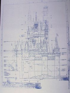 This etsy shop has real deal printed like actual blueprint wonderful 24 x 36 blueprint of the walt disney world magic kingdom castle west elevation malvernweather Image collections