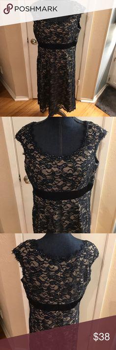 Nice party dress Karen Miller navy blue beaded dress size 16 Karen Miller Dresses