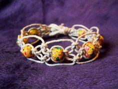 Natural Hemp Bracelet w/ Glass Rasta Beads by PeaceLoveNKnottyHemp, $8.00