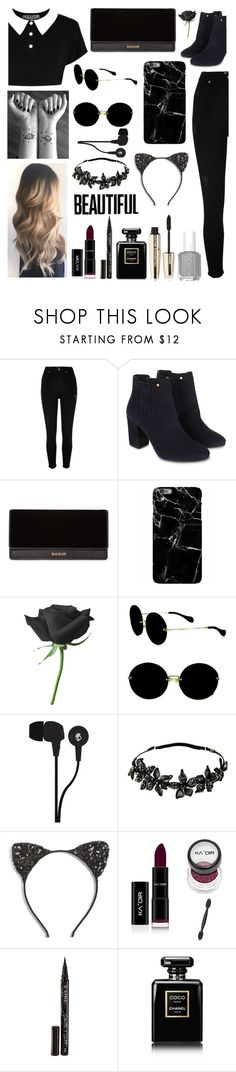 """""""Black Paradise"""" by tumblr-outfits12 ❤ liked on Polyvore featuring River Island, Monsoon, Killstar, Balmain, Miu Miu, Skullcandy, Colette Malouf, Cara, Smith & Cult and Chanel"""