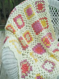 Crocheted multicolor baby or lap blanket by BitsOfFiber on Etsy, $76.00