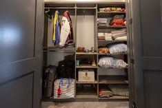 Customize your entryway closet to fit your storage needs - from guests' coats to extra blankets and pillows. Celebrity designer Anthony Carrino built four hallway closets in his new home using SpaceCreations. Utility Room Storage, Storage Room, Storage Ideas, Entryway Closet, Mudroom, Anthony Carrino, Kitchen Pantry, Home Organization, Home Projects