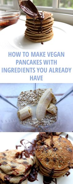How to make three different vegan pancake recipes utilizing ingredients you already have in your kitchen. How to make three different vegan pancake recipes utilizing ingredients you already have in your kitchen. Vegan Pancake Recipes, Vegan Foods, Vegan Dishes, Vegan Vegetarian, Whole Food Recipes, Vegan Recipes, Vegetarian Pancakes, Waffle Recipes, Gluten Free Vegan Pancakes